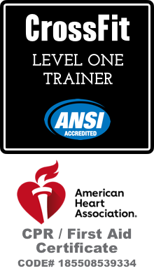 CrossFit Level 1 Trainer, CPR / First Aid Certificate